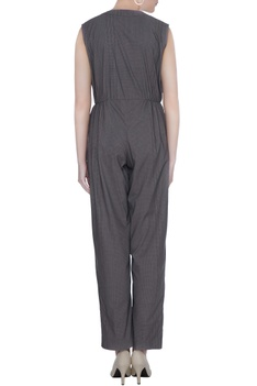 Grey organic poplin broken line print jumpsuit