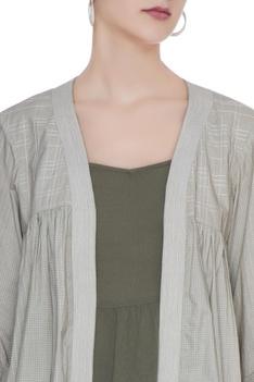 Olive grey organic poplin textured & gathered jacket