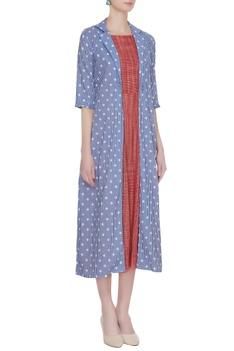 Red sleeveless midi dress with polka dot jacket