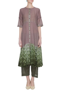 Lilac button down tunic with culottes