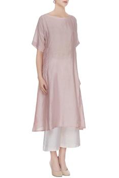 Dusty pink chanderi asymmetric kurta with tie-dye pants