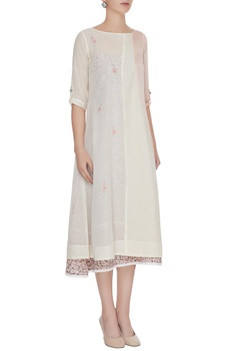 Off-white applique work kurta with printed slip dress