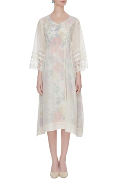 Off-white cotton a-line dress
