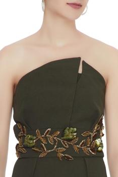 Olive green flap neckline jumpsuit