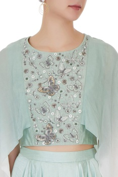 Mint green crepe & silk chanderi ombre crop top with cowl pants