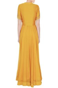 Mustard yellow silk chanderi & georgette embroidered jacket & maxi dress