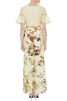 Lemon yellow crepe & silk chanderi floral applique work crop top with pleated pants