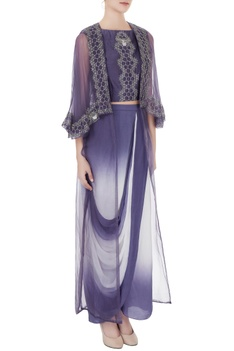 Crepe embroidered crop top with draped skirt & organza cape