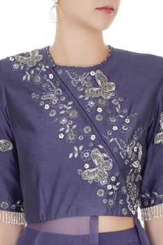 Purple crepe & silk chanderi embroidered jacket with pleated pants