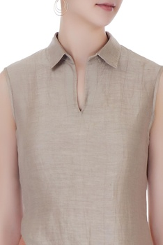 Grey satin linen solid shirt blouse