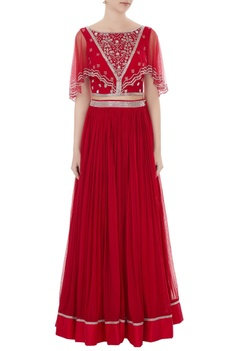Red embroidered silk & net blouse with georgette skirt