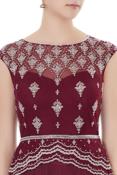Oxblood embroidered georgette blouse with net lehenga & net dupatta