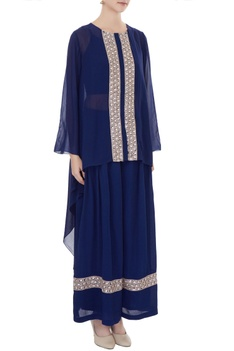 Navy blue embroidered georgette kurta with moss pants