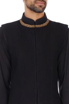 Black blended polynosic zardosi embroidery bundi
