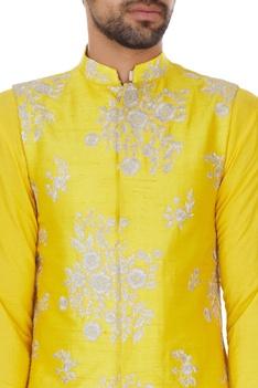 Yellow silk zari embroidery bundi