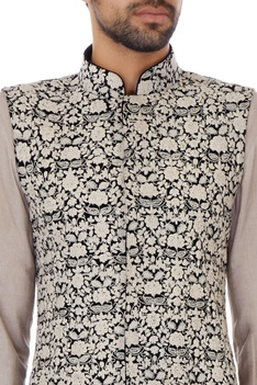 Black velvet floral thread work bundi