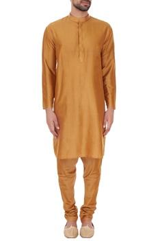 Golden beige cotton silk thread work embroiered sherwani with kurta & pyjamas