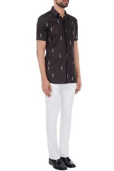 Black ikat print classic shirt