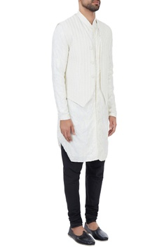 Vanilla kurta with vanilla suiting fabric embroidered bundi