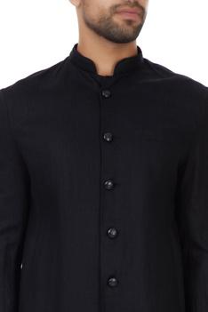 Black linen flared achkan