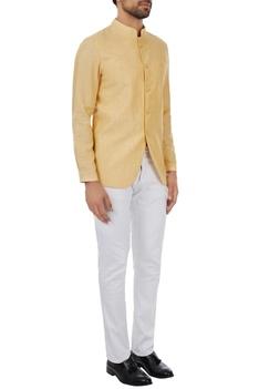 Yellow unlined linen bandgala