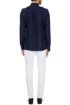 Navy blue linen military shirt