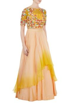 Yellow & beige dupion silk crop top with organza skirt