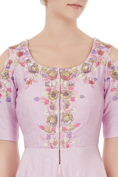 Lilac cotton silk hand embroidered kurta with pants