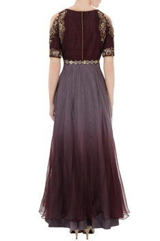 Grey & wine dupion silk embroidered gown