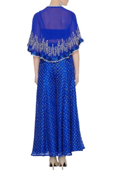 Bright blue georgette pearl & sequin embroidered cape set