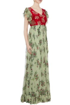 Red raw silk zardozi hand embroidered & chiffon gown