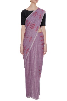 Pale purple linen jamdani saree with blouse piece