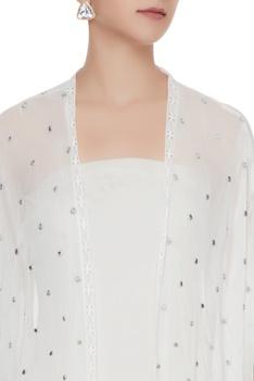 Ivory sheer front open mirror work jacket
