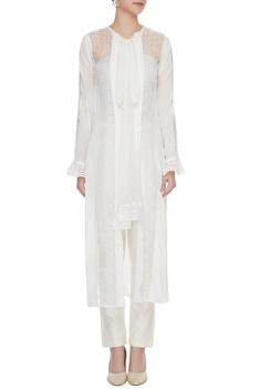 White crepe silk & lace jacket