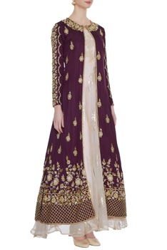 Burgundy zardozi embroidered jacket with organza gown
