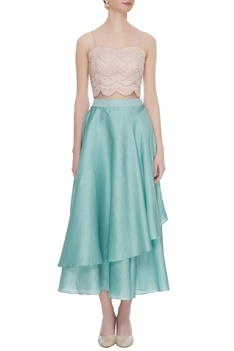 Blue dupion crepe layered skirt with lucknowi bustier