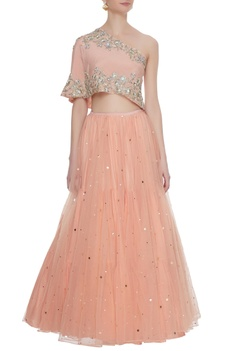 Peach net mukaish embroidered lehenga with one-shoulder crepe silk blouse