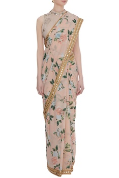 Peach georgette sequin work pre-stitched saree with blouse