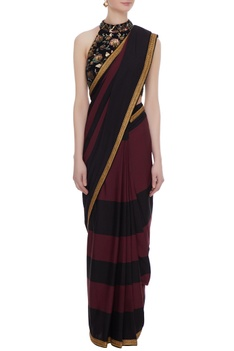 Black & maroon crepe sequin work pre-stitched saree with blouse