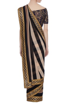 Black, white & maroon georgette sequin work pre-stitched saree with blouse