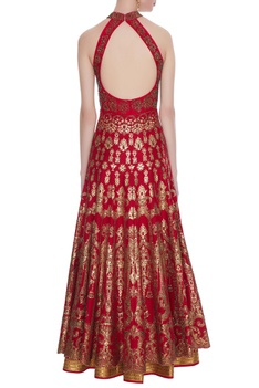 Red summer silk, print with zircon floor length anarkali with dupatta