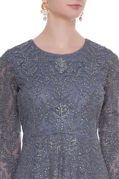 Grey net thread work & sequin floor length anarkali with dupatta