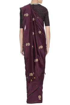 Purple chanderi hand embroidered saree with blouse