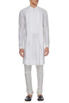 White spun silk kurta with lace yoke & churidar