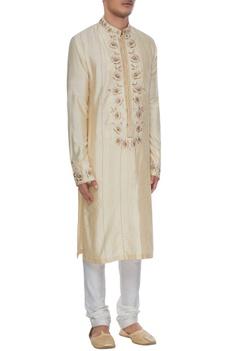 Cream dupion silk gota embroidered kurta & churidar