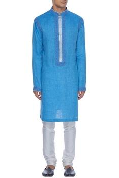 Blue resham embroidered textured kurta set