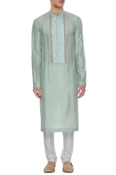 Mint spun silk embroidered placket kurta with churidar