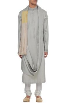 Grey textured draped style kurta with yellow patchwork