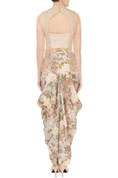 Green & ivory organza & silk cowl pants with layered blouse