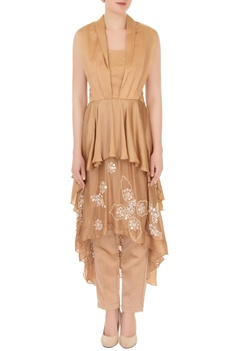 Tan brown satin & crepe georgette embellished layered blouse with pants
